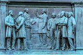Swearing Senate General John Logan Memorial Civil War Statue Logan Circle Washington DC. Statue dedicated in 1901 Sculptors Franklin Simmons and Richard Hunt. Logan was close to US Grant promoted to Brigadier General at Fort Donelson won the Congressional poster