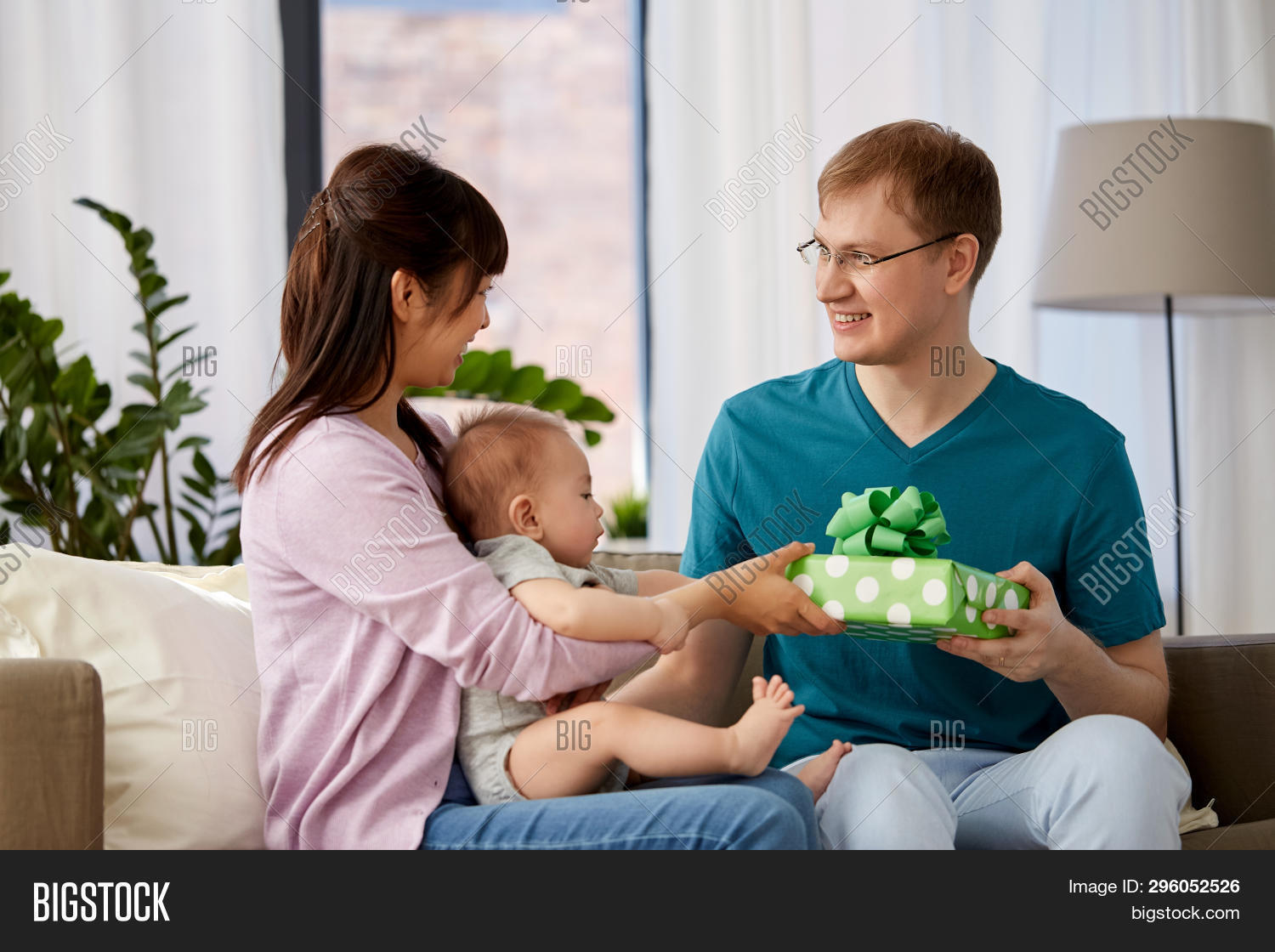 Mixed Race Family Parenthood And Fathers Day Concept