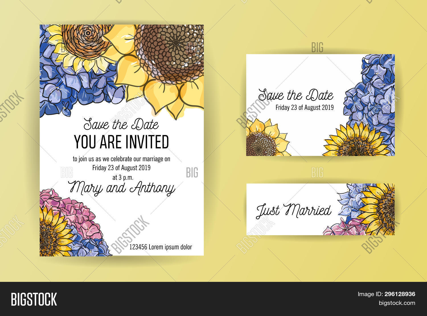 Set Wedding Invitation Image Photo Free Trial Bigstock