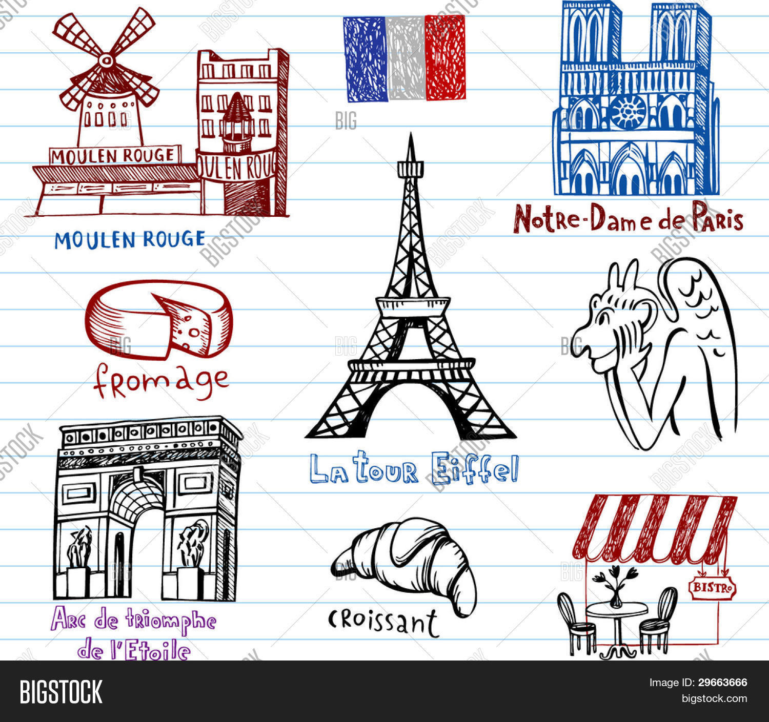 Symbols france simple drawing vector photo bigstock symbols of france in simple drawing style biocorpaavc