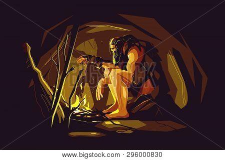Wild Caveman Sitting Near Bonfire Vector Illustration