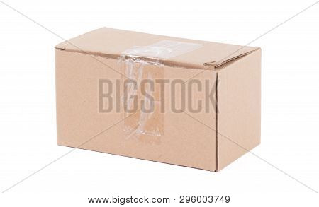 Cardboard Box With Flip Closed Lid, Lid Open, Isolated On White