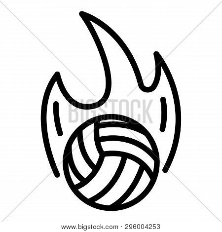 Volleyball Ball On Fire Icon. Outline Volleyball Ball On Fire Vector Icon For Web Design Isolated On