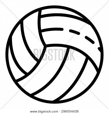 White Volleyball Ball Icon. Outline White Volleyball Ball Vector Icon For Web Design Isolated On Whi