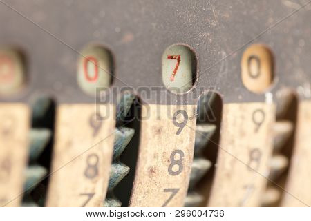 Vintage Manual Adding Machine Isolated On White, Selective Focus - 7
