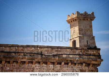 Detail of the Montjuic Castle with a sentry box (1640), ancient military fortress on the top of the Barcelona hill, Catalonia, Spain, Europe poster