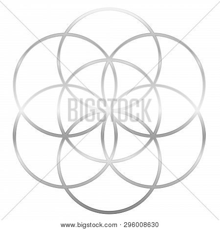 Silver Seed Of Life. Precursor Of Flower Of Life Symbol. Unique Geometrical Figure, Composed Of Seve