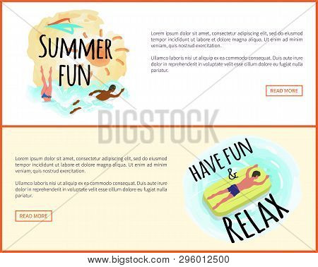 Have Fun And Relax Label With Tropical Leaves Framing. Man Suntanning On Mattress, Male Character In