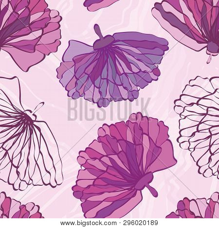 Pink And Purple Hand Drawn Flowers With Featured Unfinished Blossom. Seamless Vector Pattern On Marb