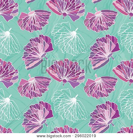 Purple Hand Drawn Flowers With Featured Unfinished White Bloom. Seamless Vector Pattern On Marbled T