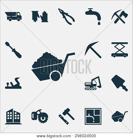 Industrial Icons Set With Truck, Set For Laying Tiles, Water Crane And Other Industrial Elements. Is