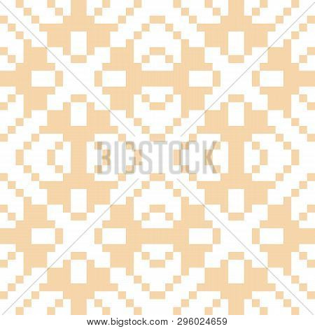 Vector Geometric Traditional Ornament. Fair Isle Seamless Pattern. Ethnic Texture With Squares, Cros
