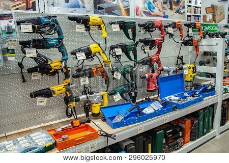 Minsk, Belarus, April 17, 2019: Great Choice Of Construction Electric Tools Of Various Manufacturers
