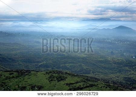 Smoky Landscape In Central Africa, Hills Of Rwanda