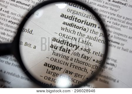 The Word Of Phrase Auditory In A Dictionary.