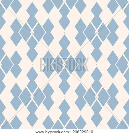 Vector Abstract Geometric Seamless Pattern. Light Blue And White Ornamental Texture With Rhombuses,