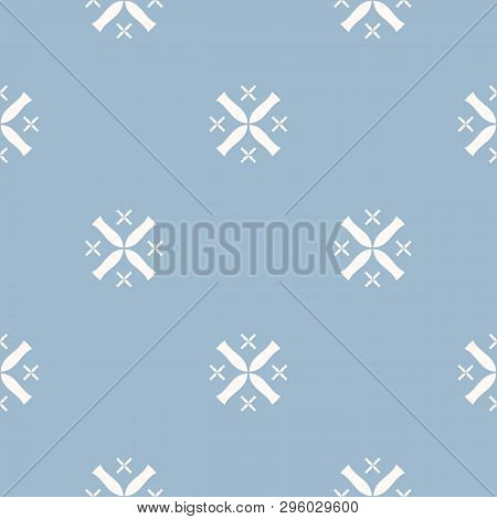 Simple Minimalist Floral Texture. Geometric Seamless Pattern With Small Flower Silhouettes, Crosses.