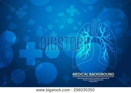 Human Lungs On Scientific Background, Medical Abstract Background. Vector Illustration