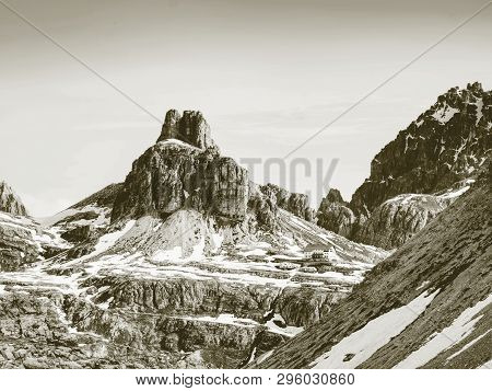 Hiking Trail On The Background Of The Stunning Alpine Panorama. Alps Dolomites Mountains, Dolomiti,