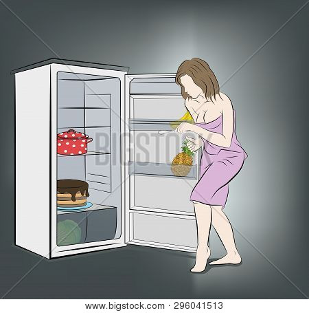 Woman At Night Sneaks To The Fridge. Food For The Night. Vector Illustration.
