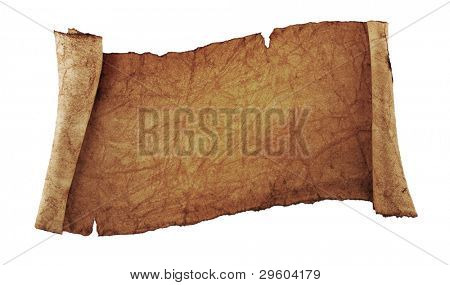 scroll of old parchment, isolated on a white background
