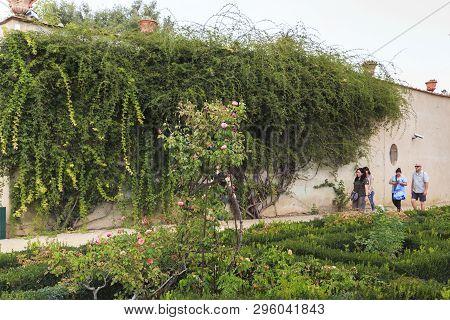 Florence, Italy - September 13, 2018: Unidentified Tourists Walk In The Renaissance Boboli Gardens O