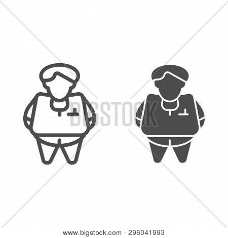 Fat Person Line And Glyph Icon. Obesity Vector Illustration Isolated On White. Fat Man Outline Style