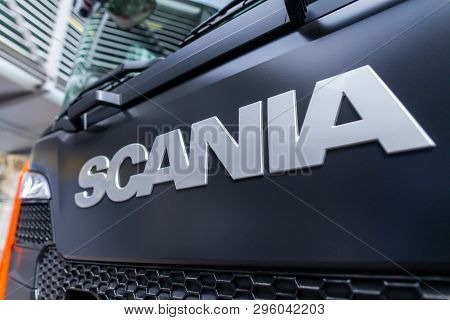 Munich / Germany - April 14, 2019: Scania Branch On A Scania Truck. Scania Ab Is A Major Swedish Man