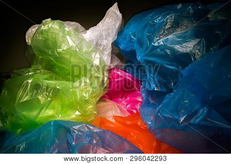 Disposable Plastic Bags Background. Lightweight Transparent, Reusable Plastic Waste. Rubbish Bags, P
