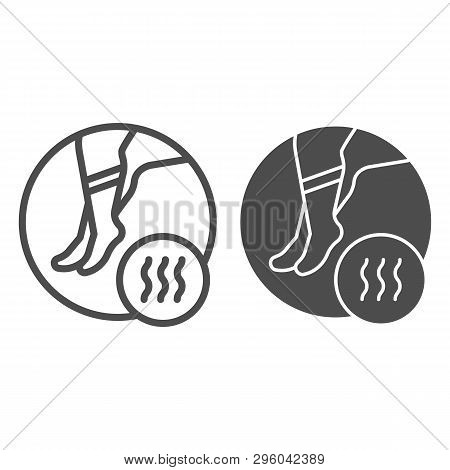 Foot With Bad Odor Line And Glyph Icon. Smelly Socks Vector Illustration Isolated On White. Stinky F