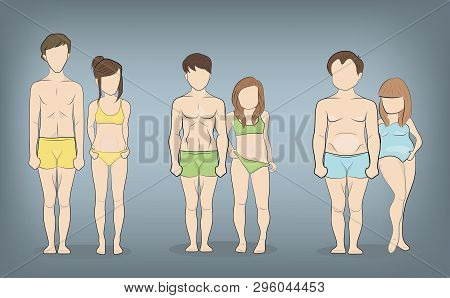 Male And Female Body Types: Ectomorph, Mesomorph And Endomorph. Skinny, Muscular And Fat Bodytypes.