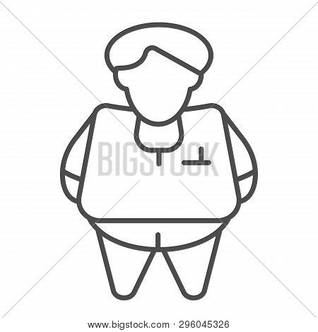 Fat Person Thin Line Icon. Obesity Vector Illustration Isolated On White. Fat Man Outline Style Desi