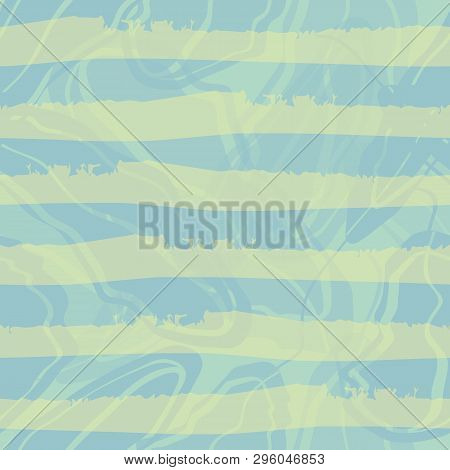 Pastel Blue And Green Watercolour Horizontal Striped Design. Seamless Vector Pattern On Blue Marbled