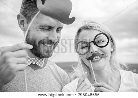 Humor And Laugh Concept. Couple Posing With Party Props Sky Background. Photo Booth Props. Man With