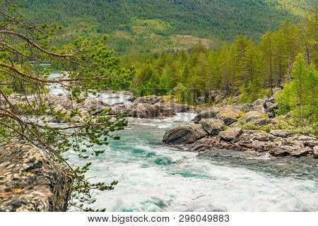 Mountain Wild River Valley Landscape. Mountain River Flowing Through The Green Forest. Panoramic Vie