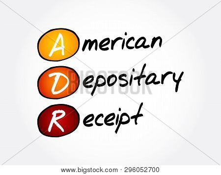 ADR - American Depositary Receipt acronym, business concept background poster