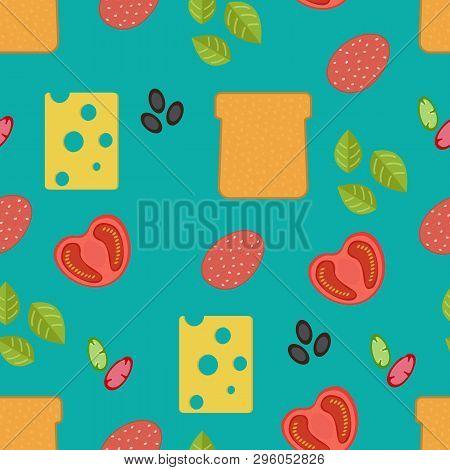 Seamless Food Pattern. Flat Food Seamless Pattern. Flat Food.