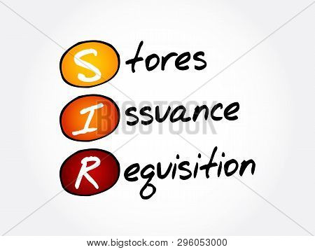 SIR - Stores Issuance Requisition acronym, business concept background poster