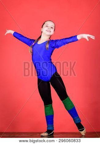 Try hard. Rhythmic gymnastics sport combines elements ballet dance. Girl little gymnast sports leotard. Physical education and gymnastics. Flexible healthy body. Future star of rhythmic gymnastics poster