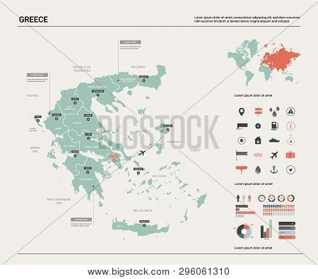 Vector Map Of Greece.  High Detailed Country Map With Division, Cities And Capital Athens. Political