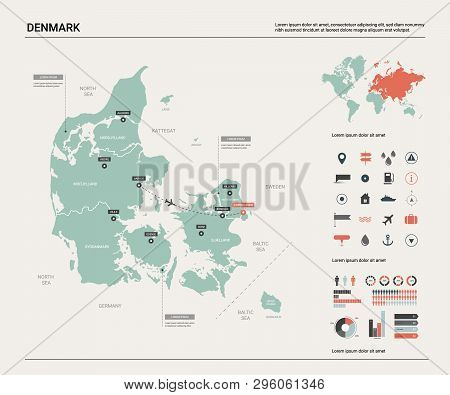 poster of Vector map of Denmark.  High detailed country map with division, cities and capital Copenhagen. Political map,  world map, infographic elements.