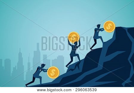 Businessman Competing Rolling And Push Icon Dollar Coin Uphill On The Mountain To The Goal Of Succes