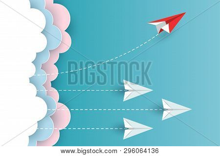 Red Paper Plane Changing Direction From White Up To The Sky. New Idea. Different Business Concepts.