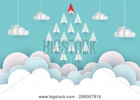 Paper Airplane Red And White Are Fly Up To The Sky Between Cloud Natural Landscape Go To Target. Sta