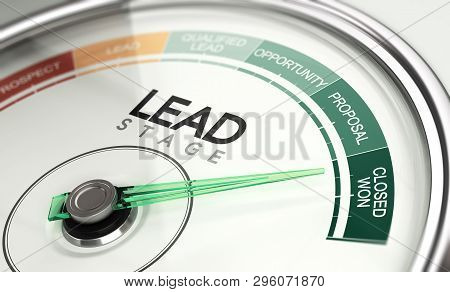 3d Illustration Of A Conceptual Gauge With Needle Pointing The Last Stage Of A Sales Process. Inboun