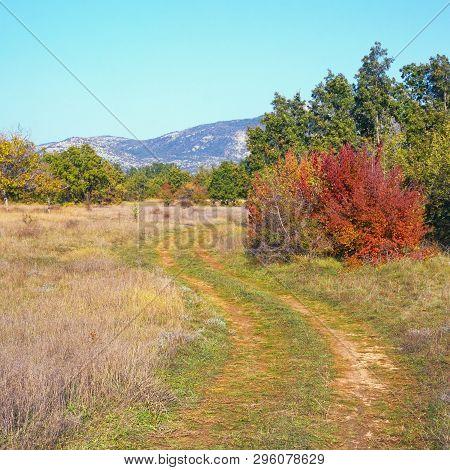 Sunny Autumn Day In The Valley Of The Dinar Alps. Bosnia And Herzegovina, Republika Srpska, Zubacko