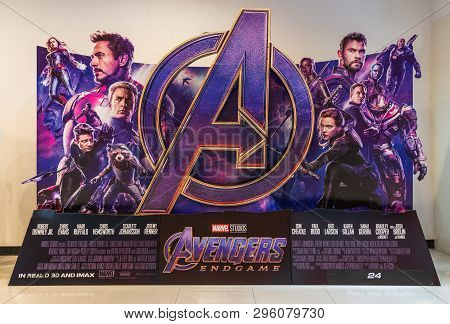 Bangkok, Thailand - Apr 18, 2019: Avenger Endgame movie backdrop display in movie theatre. Cinema promotional advertisement, or film industry marketing concept