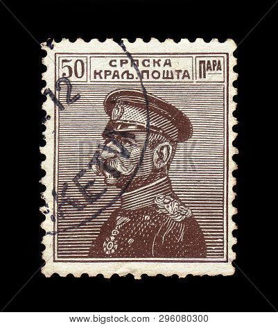 Serbia - Circa 1911: A Stamp Printed In Serbia, Shows Portrait Of The First King Of Serbs, Croats An