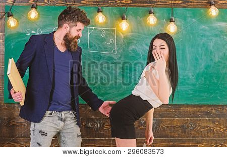Schoolmaster Punishes Sexy Student With Slapping On Her Buttocks. Man With Beard Slapping Sexy Stude