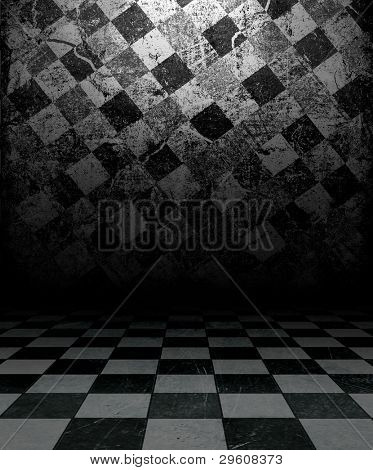 Black And White Check Grunge Room